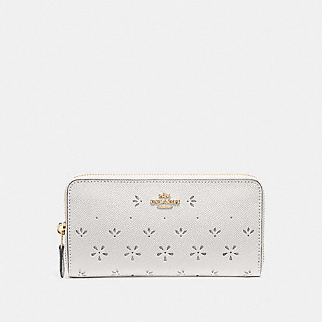 COACH ACCORDION ZIP WALLET - CHALK/IMITATION GOLD - f29383