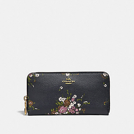 COACH ACCORDION ZIP WALLET WITH FLORAL BUNDLE PRINT AND BOW ZIP PULL - MIDNIGHT MULTI/IMITATION GOLD - f29384