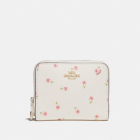 COACH SMALL ZIP AROUND WALLET WITH DITSY DAISY PRINT - CHALK MULTI/IMITATION GOLD - f29385