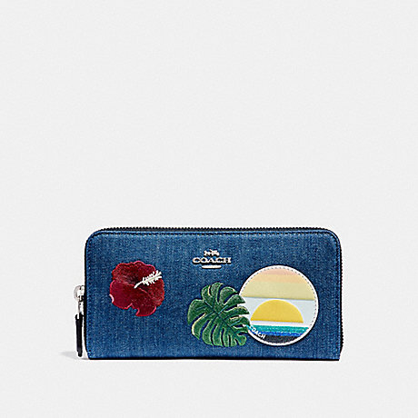 COACH ACCORDION ZIP WALLET WITH BLUE HAWAII PATCHES - SVM64 - f29399
