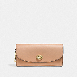 COACH SLIM ENVELOPE WALLET - BEECHWOOD/light gold - F29407