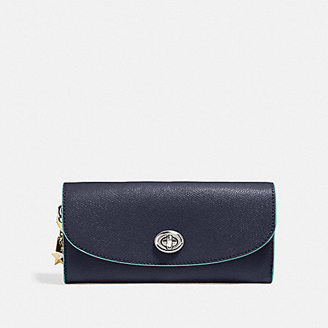 COACH SLIM ENVELOPE WALLET - MIDNIGHT NAVY/SILVER - f29407