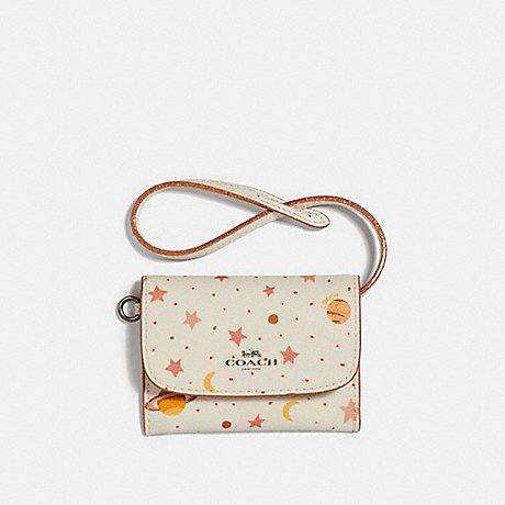 COACH CARD POUCH WITH CONSTELLATION PRINT - Chalk Multi/BLACK ANTIQUE NICKEL - f29408