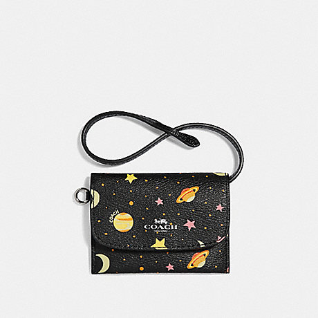 COACH CARD POUCH WITH CONSTELLATION PRINT - BLACK/MULTI/SILVER - f29408