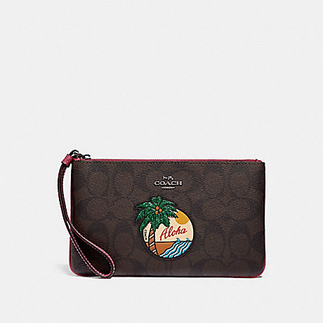 COACH LARGE WRISTLET IN SIGNATURE CANVAS WITH ALOHA MOTIF - BROWN/BLACK/BLACK ANTIQUE NICKEL - f29418