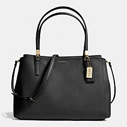 COACH MADISON SAFFIANO LEATHER CHRISTIE CARRYALL - LIGHT GOLD/BLACK - F29422
