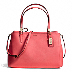 COACH MADISON SAFFIANO LEATHER CHRISTIE CARRYALL - LIGHT GOLD/LOVE RED - F29422