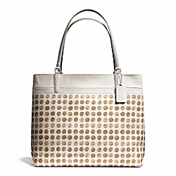 COACH PAINTED DOT COATED CANVAS TOTE - SILVER/TAN MULTI - F29431