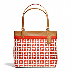 SMALL PAINTED DOT COATED CANVAS TOTE - f29432 - BRASS/LOVE RED MULTICOLOR