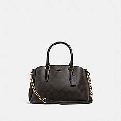 MINI SAGE CARRYALL IN SIGNATURE CANVAS - BROWN/BLACK/LIGHT GOLD - COACH F29434