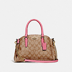 MINI SAGE CARRYALL IN SIGNATURE CANVAS - KHAKI/PINK RUBY/GOLD - COACH F29434