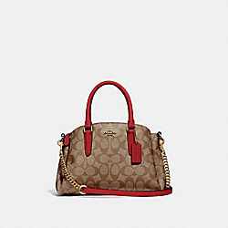MINI SAGE CARRYALL IN SIGNATURE CANVAS - IM/KHAKI/TRUE RED - COACH F29434