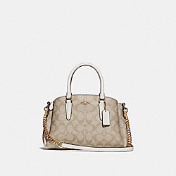 MINI SAGE CARRYALL IN SIGNATURE CANVAS - LIGHT KHAKI/CHALK/IMITATION GOLD - COACH F29434