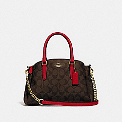 MINI SAGE CARRYALL IN SIGNATURE CANVAS - IM/BROWN TRUE RED - COACH F29434