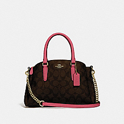 MINI SAGE CARRYALL IN SIGNATURE CANVAS - BROWN/STRAWBERRY/IMITATION GOLD - COACH F29434