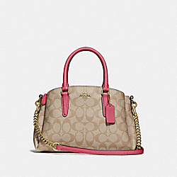 MINI SAGE CARRYALL IN SIGNATURE CANVAS - LIGHT KHAKI/ROUGE/GOLD - COACH F29434