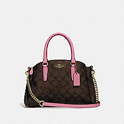 MINI SAGE CARRYALL IN SIGNATURE CANVAS - IM/BROWN PINK ROSE - COACH F29434