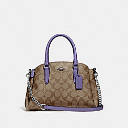 MINI SAGE CARRYALL IN SIGNATURE CANVAS - KHAKI/LIGHT PURPLE/SILVER - COACH F29434