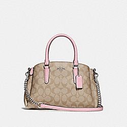 MINI SAGE CARRYALL IN SIGNATURE CANVAS - LIGHT KHAKI/CARNATION/SILVER - COACH F29434