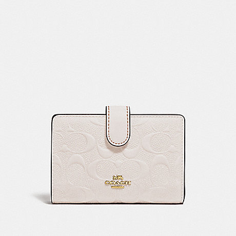 COACH MEDIUM CORNER ZIP WALLET IN SIGNATURE LEATHER - CHALK/IMITATION GOLD - f29439