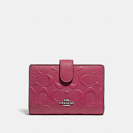 COACH MEDIUM CORNER ZIP WALLET IN SIGNATURE LEATHER - SILVER/HOT PINK - f29439