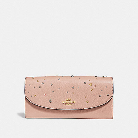 COACH SLIM ENVELOPE WALLET WITH CELESTIAL STUDS - nude pink/light gold - f29442