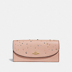 SLIM ENVELOPE WALLET WITH CELESTIAL STUDS - NUDE PINK/LIGHT GOLD - COACH F29442