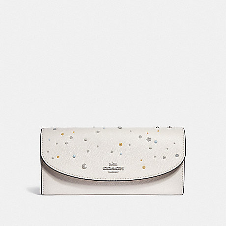 COACH SLIM ENVELOPE WALLET WITH CELESTIAL STUDS - SILVER/CHALK - f29442