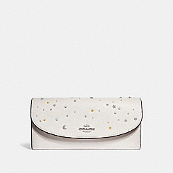 SLIM ENVELOPE WALLET WITH CELESTIAL STUDS - f29442 - SILVER/CHALK