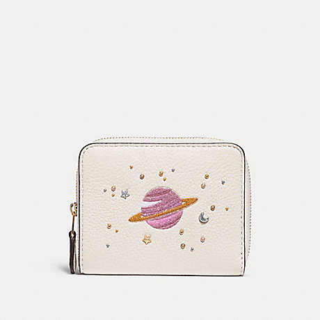 COACH SMALL ZIP AROUND WALLET WITH SPACE MOTIFS - CHALK/light gold - f29447