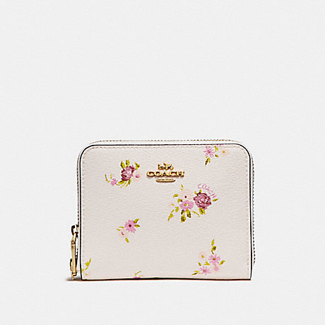 COACH SMALL ZIP AROUND WALLET WITH DAISY BUNDLE PRINT AND BOW ZIP PULL - CHALK MULTI/IMITATION GOLD - f29449