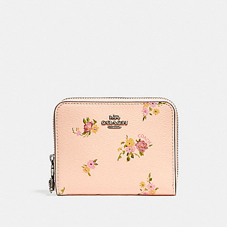 COACH SMALL ZIP AROUND WALLET WITH DAISY BUNDLE PRINT AND BOW ZIP PULL - LIGHT PINK MULTI/SILVER - f29449
