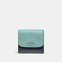 SMALL WALLET IN COLORBLOCK - SILVER/BLUE MULTI - COACH F29450
