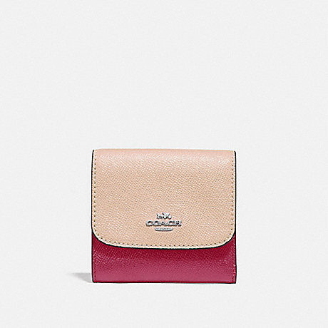 COACH SMALL WALLET IN COLORBLOCK - SILVER/PINK MULTI - f29450