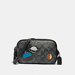 CROSSBODY POUCH WITH SPACE PATCHES - f29463 - BLACK/MULTI/SILVER