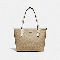 MINI CITY ZIP TOTE IN SIGNATURE CANVAS - LIGHT KHAKI/CHALK/LIGHT GOLD - COACH F29500