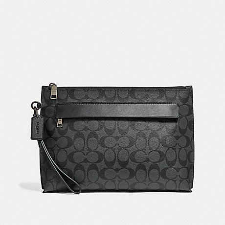 COACH CARRYALL POUCH IN SIGNATURE CANVAS - CHARCOAL/BLACK - f29508