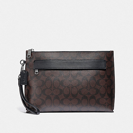 COACH CARRYALL POUCH IN SIGNATURE CANVAS - MAHOGANY/BLACK/BLACK ANTIQUE NICKEL - F29508