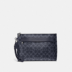 CARRYALL POUCH IN SIGNATURE CANVAS - DENIM/BLACK ANTIQUE NICKEL - COACH F29508
