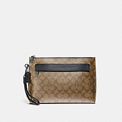 CARRYALL POUCH IN SIGNATURE CANVAS - TAN/BLACK ANTIQUE NICKEL - COACH F29508