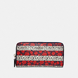 ACCORDION ZIP WALLET WITH ROSE QUEEN STRIPE PRINT - f29518 - MULTI/SILVER