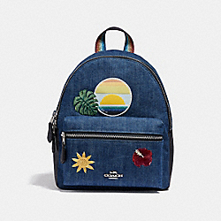COACH MINI CHARLIE BACKPACK WITH BLUE HAWAII PATCHES - DENIM/MULTI/SILVER - F29534