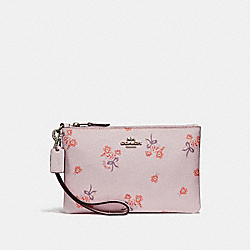 SMALL WRISTLET WITH FLORAL BOW PRINT - ICE PINK FLORAL BOW/SILVER - COACH F29550