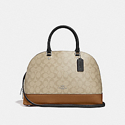 COACH SIERRA SATCHEL IN COLORBLOCK SIGNATURE CANVAS - SILVER/LIGHT KHAKI MULTI - F29564