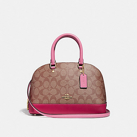 COACH MINI SIERRA SATCHEL IN COLORBLOCK SIGNATURE CANVAS - khaki/multi/imitation gold - f29566