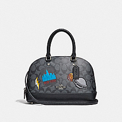 MINI SIERRA SATCHEL IN SIGNATURE CANVAS WITH SPACE PATCHES - f29618 - BLACK SMOKE/BLACK/SILVER