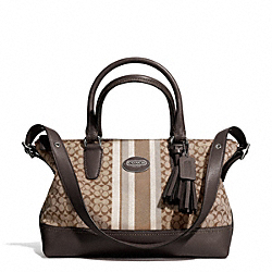 COACH SIGNATURE STRIPE EAST/WEST SATCHEL - SILVER/KHAKI/MAHOGANY - F29622