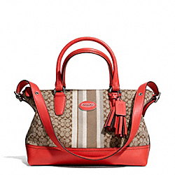 COACH SIGNATURE STRIPE EAST/WEST SATCHEL - SILVER/KHAKI/CARNELIAN - F29622