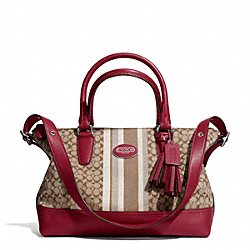 COACH SIGNATURE STRIPE EAST/WEST SATCHEL - SILVER/KHAKI/BLACK CHERRY - F29622