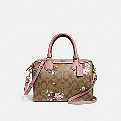 MINI BENNETT SATCHEL IN SIGNATURE CANVAS WITH FLORAL BUNDLE PRINT - KHAKI/MULTI/IMITATION GOLD - COACH F29631